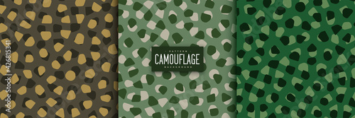 Papel de parede abstract camouflage patterns set in voronoi style