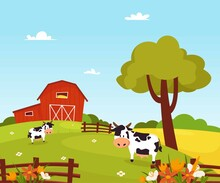 Vector Illustration Of A Beautiful Landscape In A Modern Style. Mill And Field Of Wheat. Cows In The Pasture. Village. Farm.