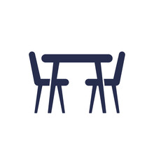 Dining Table And Chairs Icon Isolated On White