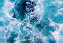 Wavy Sea Foam After Motor Boat. Seascape Perspective View. Maritime Transportation On Cruise Ship Or Motor Boat. White Wave On Oceanic Surface. Deep Blue Water Of Open Sea . Nautical Background