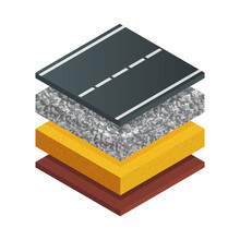 Vector Illustration Typical Asphalt Road Structure Isolated On White Background. Realistic Cross Section Road Structure Diagram In Flat Cartoon Style. Isometric Scheme Of Asphalt Paving Technology.