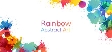 Rainbow Abstract Creative Banner From Paint Splashes.