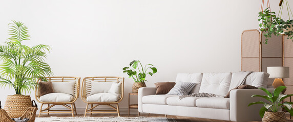 farmhouse interior living room, empty wall mockup in white room with wooden furniture and lots of green plants, 3d render