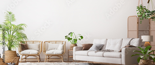 Fotografie, Obraz farmhouse interior living room, empty wall mockup in white room with wooden furn