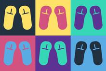 Pop Art Slipper Icon Isolated On Color Background. Flip Flops Sign. Vector Illustration