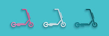 Paper Cut Scooter Delivery Icon Isolated On Blue Background. Delivery Service Concept. Paper Art Style. Vector