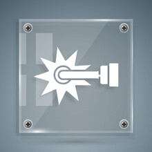 White Cowboy Horse Riding Spur For Boot Icon Isolated On Grey Background. Square Glass Panels. Vector