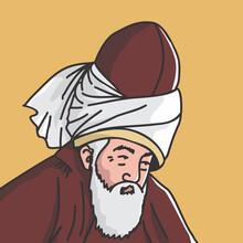 Vector Illustration Of World Muslim Poet And Sufi Mevlana Celaleddin (Jalaluddin) Rumi