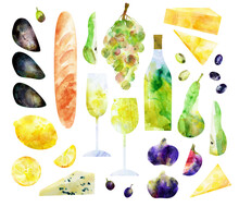 Watercolor Abstract White Wine Bottle, Glasses And Snack Illustration