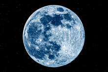 The Picture Shows The Blue Moon With Stars Over The City Of Bottrop In North Rhine-Westphalia With A Clear Night Sky.