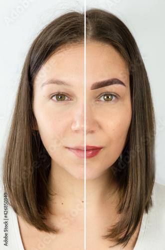 Foto porównanie przed i po makijażu permanentnym brwi i ust. Trwały makijaż. Twarz kobiety makijaż permanentny, uroda.
