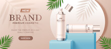 Realistick Mockup Cosmetics Beauty Ad Brand Natural Packaging Template For Face, Head, Hands Skin Care. Gluta Collagen Cream Moisturizing Essence Serum Mask Drops Natural Product Oil Micellar Water.