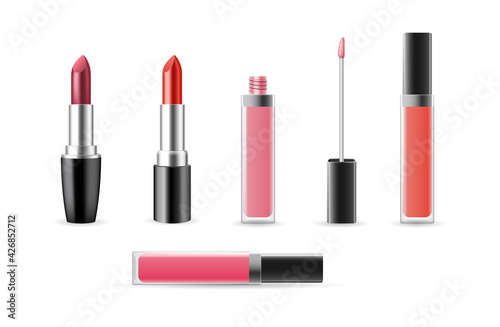 Photo Set of lip gloss and lipstick templates open and closed isolated on white backgr