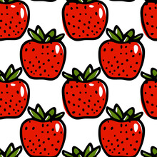 Vector Seamless Pattern With Hand Drawn Juicy Strawberries. Beautiful Food Design Elements, Perfect For Prints And Patterns