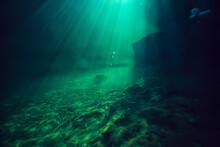 Landscape Diving In Cenote, Underwater Fog Hydrogen Sulfide, Extreme Adventure In Mexico
