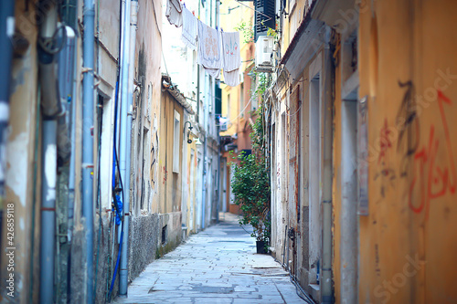 linen is dried in a narrow street of Italy, Italian lifestyle