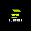Bright green rounded lines sporty letter G arrow logo in black background