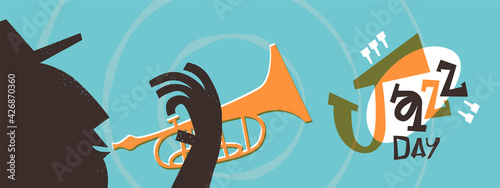 Jazz Day retro trumpet music band cartoon banner