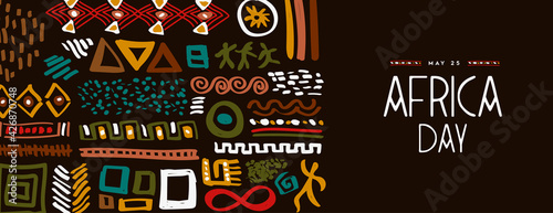 Photo Africa Day may 25 abstract ethnic tribal art banner
