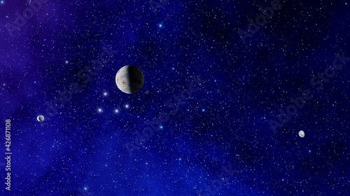 Photo beautiful view of the exo planet in space and the surface against the background