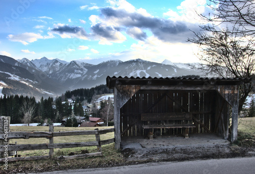 Photo Bus stop in Austrian alps near Schladming in spring