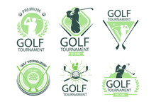 Golf Logo. Golf Tournament Symbol Design. Champion Player Contest Team Championship. Golf Club Company - Badge, Business Brand Logo, Symbol, Sign Or Emblem Icon. Vector Illustration.