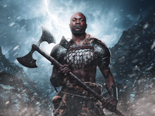 Violent African Viking With Axe In Background Of Blizzard Mountains