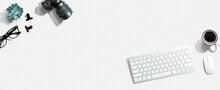Computer Keyboard And SLR Camera