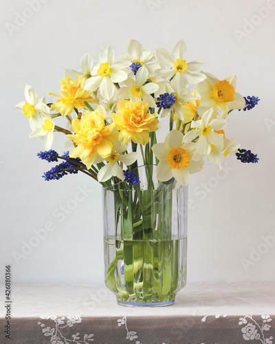Canvas Print bouquet of garden yellow daffodils.