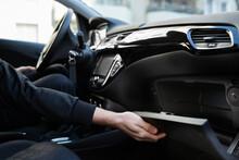 Open Car Glove Compartment Box