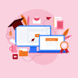 Online certification, exam or testing. Online education and learning. Educational application, video tutorials. Distance examination. Electronic Graduation Certificate. Vector illustration.
