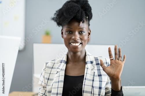 Woman Portrait Waving Hello