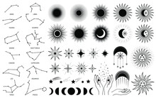 Hand Drawn Set Of Mystical Sun With Woman`s Face, Moon, Hand, Zodiac Symbol, Star In Line Art. Spiritual Celestial Space, Constellation, Horoscope, Astrology, Magic Galaxy Talisman Vector Illustration