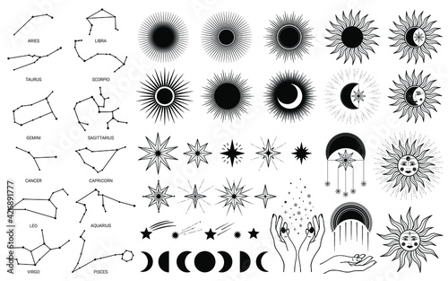 Fototapeta Hand drawn set of mystical Sun with woman`s face, moon, hand, zodiac symbol, star in line art. Spiritual celestial space, constellation, horoscope, astrology, magic galaxy talisman vector illustration obraz