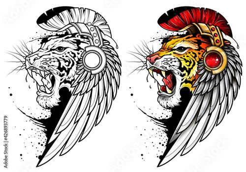 Obraz Tatuaż z ryczącym tygrysem w pióropuszu i z ptasim skrzydłem na głowie. Czarno biały obrys kolorowanka ryczący tygrys. Płaska ilustracja wektorowa. - fototapety do salonu