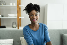 Happy Woman Video Conference Webinar Portrait