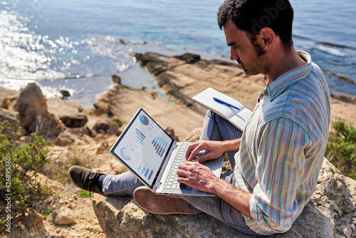 Carta da parati A young man works remotely with the sea in the background