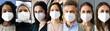 Leinwandbild Motiv Diverse People Group Wearing FFP2 Face Mask