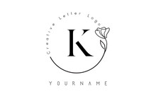 Creative Initial Letter K Logo With Lettering Circle Hand Drawn Flower Element And Leaf.