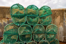 Lobster And Crab Traps Stack In A Port, Scotland, Elgol