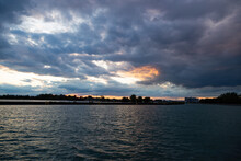 Beautiful Sunset Clouds In The Whitby Harbour, Ontario