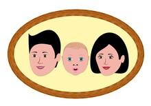 Retrato De Familia De Tres, Hombre, Mujer Y Bebé