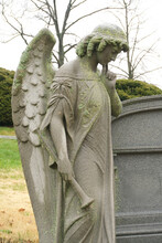 Graveyard, Tombstone, Burial, Rest In Peace, Stone, Figurative, Angel, Youth, Woman, Mourning, Sad, Death, Grave, Memorial, Concrete, Limestone,