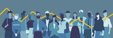 Gruppo Di Giovani Persone, Donne E Uomini, Grafico Statistico Di Cambiamento