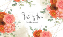Beautiful Hand Drawn Floral Background With Orange Floral Ornament