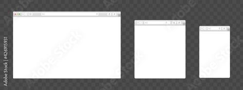 Obraz na plátně Realistic browser devices window vector set