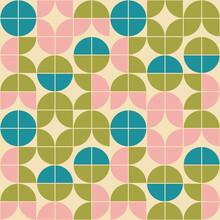 Mid Century Modern Mod Geometric Floral Design. 1960s Wallpaper Design In A Retro Color Palette. Vintage Scandinavian Style Pattern Repeat.