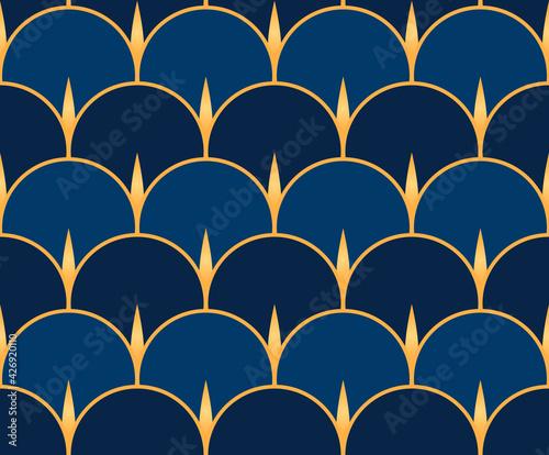 Tapety Art Deco  wzor-stylu-vintage-art-deco-z-motywami-w-ksztalcie-wachlarza-w-odcieniach-niebieskiego-ze-zlotymi-detalami-vintage-zloty-i-niebieski-wzor-geometryczny