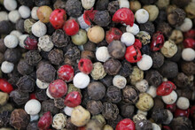 Colorful Pepper And Peppercorns On The Turkish Spice Market Closeup