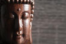 Wooden Buddha Sculpture, Close Up